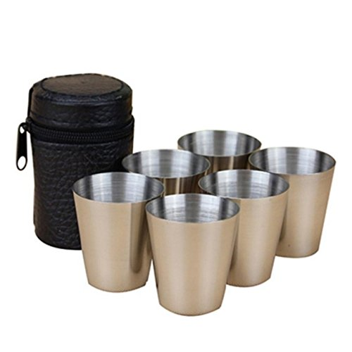 Stainless Steel Cup - Stainless Steel Cups - 6pcs/Set Travel Outdoor Practical Stainless Steel Cups Shots Set Mini Glasses For Whisky Wine 30ml Portable Set - Stainless Steel Sippy Cups