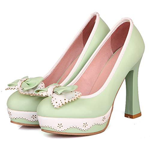 Tacón Sin Mujer Alto Bombas Cordones 07 Zapatos Coolcept Moda Verde qABx1wE