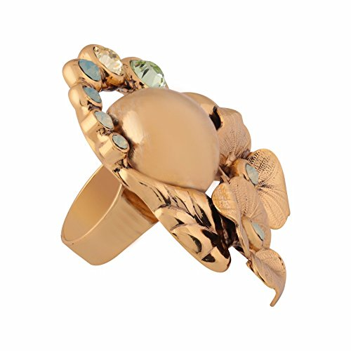 Shaze Brass Gold Colored Green Flower Ring by shaze