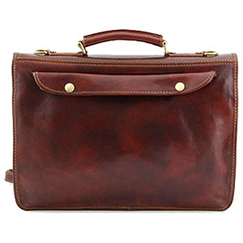 Tuscany Leather - Cartable cuir - Marron - Homme