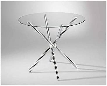 Estea Mobili - 933600 - Mesa de cristal redonda de estilo moderno ...