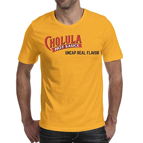 Cholula-Hot-Sauce-Logo- Man's T Shirts Designed Outdoor Crew Neck Short Sleeve Tops