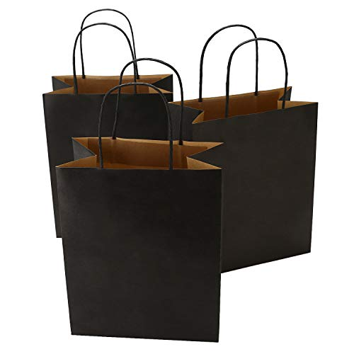 Road 8x4.75x10.5 Inches 50pcs Black Kraft Paper Bags with Handle, Shopping Bag, Merchandise Bag, Party Bag ()