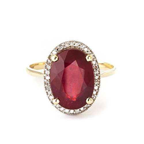 Galaxy Gold 8.18 Carat 18k Solid Yellow Gold Ring with Oval-Shaped Brilliant Vibrant Ruby and Genuine Natural Diamonds Halo Ring (6.5)