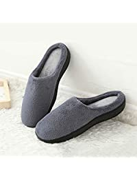 YOUKADA House Slippers for Men with Memory Foam, Coral Fleece Sandal Breathable, Anti-Slip Fuzzy Shoes Indoor Outdoor