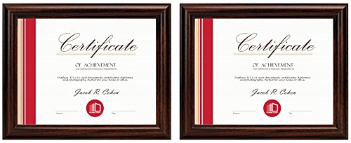 Frametory, Two 8.5x11 Frame Set - Walnut Color, Curved Bevel Design - Made to Display 8.5x11 Certificate or Picture - Real Glass (8.5x11, Set of 2, Walnut) by Frametory