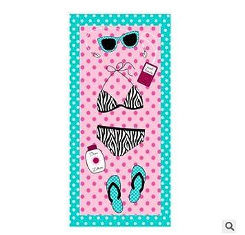 Ocamo - Toalla de Playa para Mujer, diseño Rectangular, 150 x 70 cm, Pink Bikini: Amazon.es: Deportes y aire libre