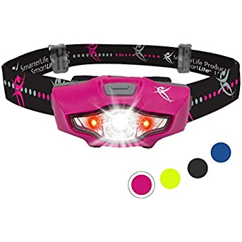 Headlamp by SmarterLife   CREE LED Headlight with Strobe, Lightweight, Water Resistant for Camping, Running, Hiking, Emergency Kit, and Reading Light (Hot Pink)