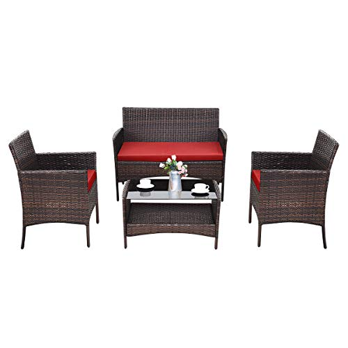 TANGKULA 4 PCS Patio Wicker Furniture Set Outdoor Garden Lawn Poolside Rattan Wicker Sofa Furniture Cushioned Seat Conversation Set with Removable Cushions & Coffee Table Patio Sofa Furniture (red) Review