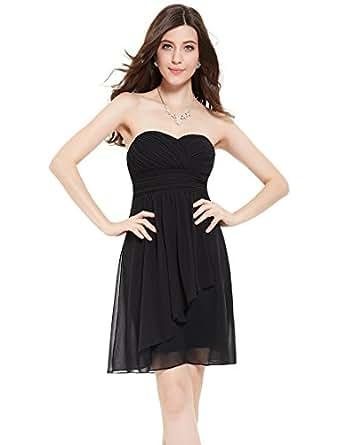 Ever Pretty Women's Strapless Knee Length Prom Dresses Black Bridesmaid Dressed 6 US
