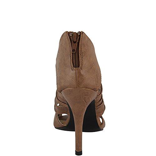 Unbekannt - Sandalias de vestir de Material Sintético para mujer - caqui