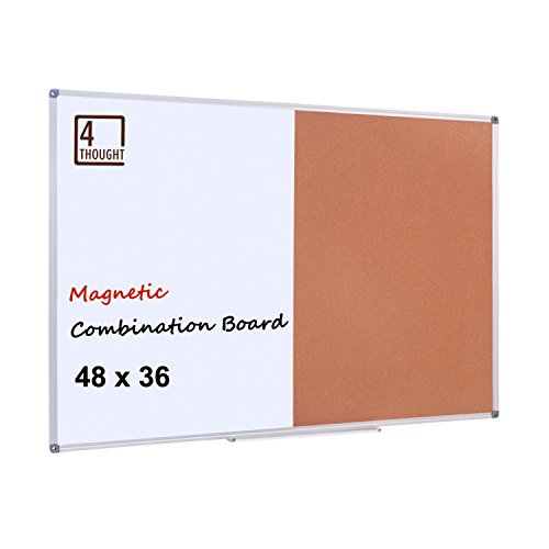 (4 THOUGHT Magnetic Dry Erase and Cork Bulletin Board Combination, 48'' X 36