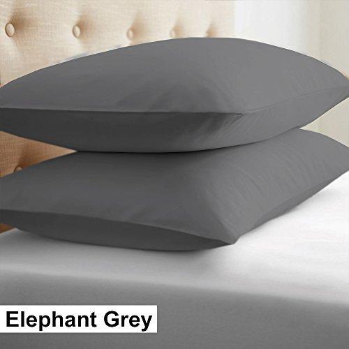 Euro Case (2-Piece- Euroshams ~ Solid Pattern 100% Pima Cotton 500 Thread- Count European Super Soft 2 PC Pillow Cases ( 26 x 26 Inch (66cm x 66cm ) , Elephant Grey))