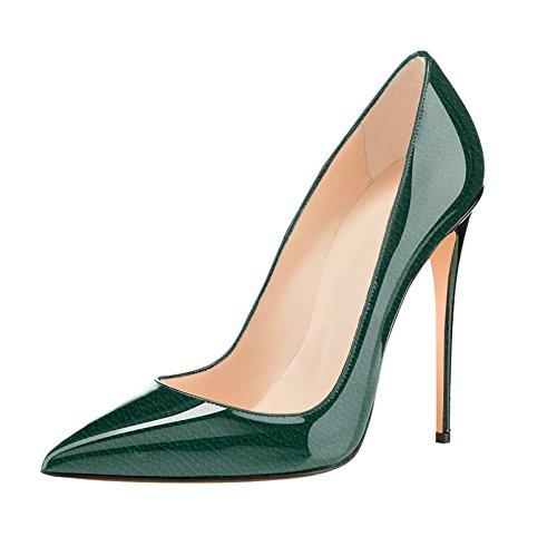 Eldof Mujeres High Heel Pumps Classic 4.72in Patente Punta Estrecha Stilettos 12cm Vestido De Fiesta De Bodas Bombas Litchi Green