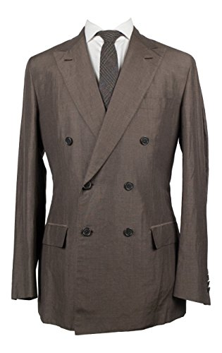 Brioni Aria 21 Brown Linen Blend Double Breasted Suit Size 50/40 Reg (Linen Suit Brioni)