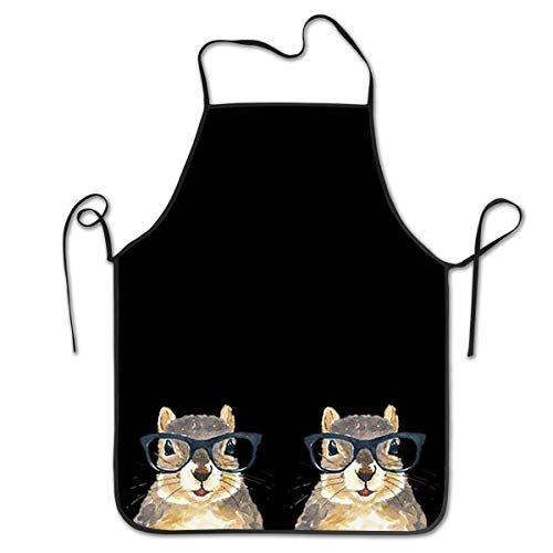 COLOMAKE Mother Gift - Durable Washable Adjustable Kitchen Nerdy Squirrel with Glass Overlock Chef Waiter Apron Cooking Baking Restaurant Unisex -