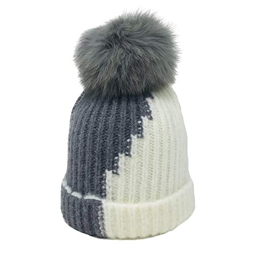 xsby Winter Fur Pom Beanie Hat Warm Chunky Cable Knit Slouchy Beanie Hats for Women Adult Dark Grey and -