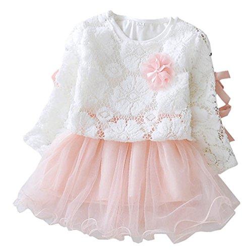 Waboats Baby Mädchen Prinzessin Kleid Frühling Herbst Party Kostüm Kleidung 12M Rosa