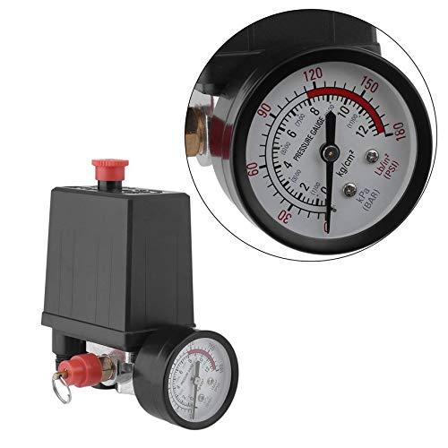 Asixx Air Compressor Pressure Control Switch Valve Regulator 90-120 PSI with Double Gauges Air Compressor Pressure Switch
