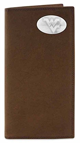 NCAA West Virginia Mountaineers Men's Crazy Horse Leather Roper Concho Wallet, Light Brown, One Size