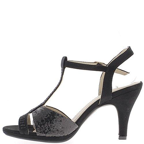 Schwarze Sandalen 9 cm Aspekt Wildleder mit Flansch Ferse beenden glitter