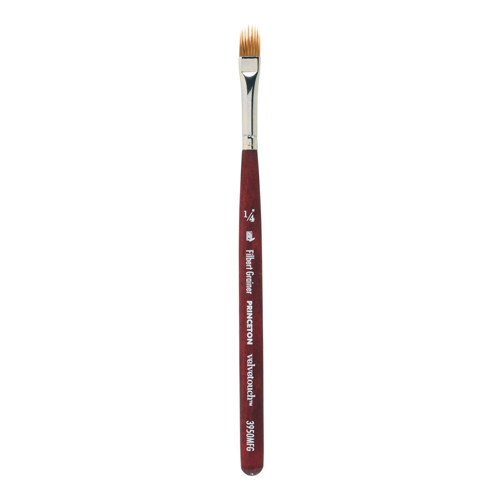 Princeton Velvetouch Artiste, Mixed-Media Brush for Acrylic, Watercolor & Oil, Series 3950 Mini Filbert Grainer Luxury Synthetic, Size 1/4