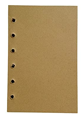 Chris-Wang 80 Sheets A5 Size 6-Holes Traveler's Notebook Filofax Filler Papers Journal Dairy Inserts Blank Refill Paper, Beige Color, 8.5""