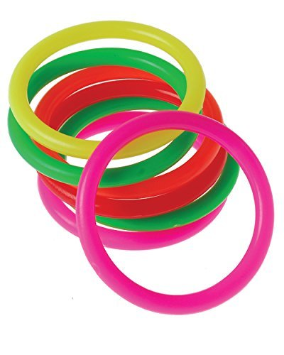 US Toy Neon Mini Carnival Game Rings Toys (12 Pack), Assorted Colors -