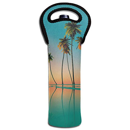 Hhill Swater Plam Tree Summer Beach One Wine Sleeve Bottle Protector Water Bottle Tote Sleeve Wine Bag Pack in Travel Luggage & Suitcase -Portable & Reusable Bags