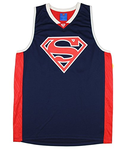 DC Comics Superman Mens Graphic Licensed Basketball Tank Top Jersey (Large 42 / 44), Blue