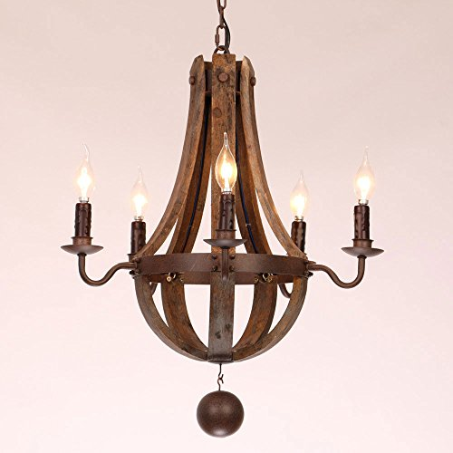 Rustic Wine Barrel Stave Reclaimed Wood & Rust Metal Chandelier with Candle Light