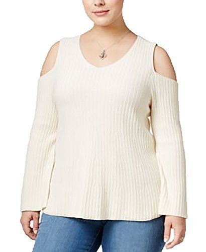 Style & Co. Plus Size Cold-Shoulder Sweater (2X) Warm Ivory