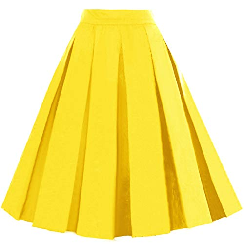 Dressever Women's Vintage A-line Printed Pleated Flared Midi Skirt Yellow 3X-Large