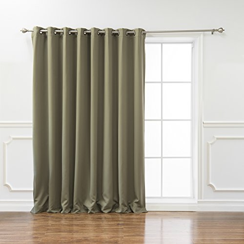 Best Home Fashion Wide Width Thermal Insulated Blackout Curtain - Antique Bronze Grommet Top - Olive - 100