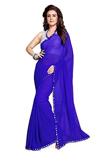 Mirchi Fashion Women's Royal Blue Faux Georgette Mirror Lace work Party Wear Saree