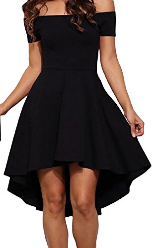 Dress Off Backless Black Party High Solid Women Low Coolred Shoulder 8Ax5ZqBA