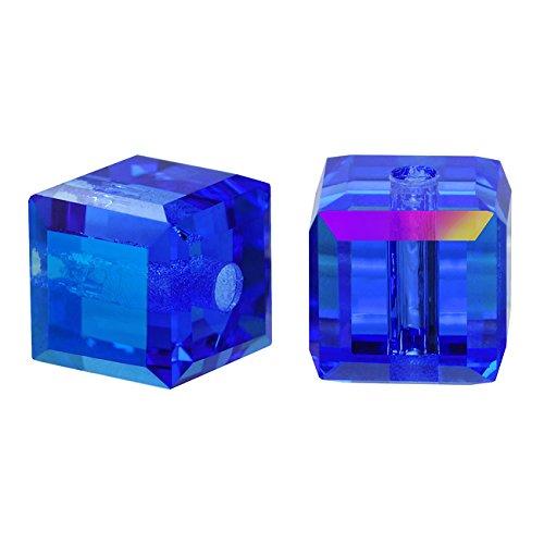 Swarovski 4 Crystal Cube Bead - Swarovski Crystal, 5601 Cube Beads 4mm, 10 Pieces, Sapphire AB