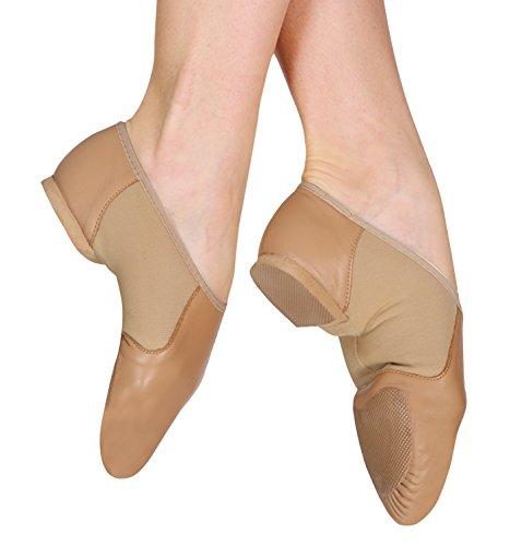 Bloch Girl's Neo Flex Slip On Jazz Fashion Dance Shoes, Brown Leather, Suede, 13 X