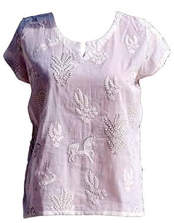 Auraa White Round Neck Blouse For Women