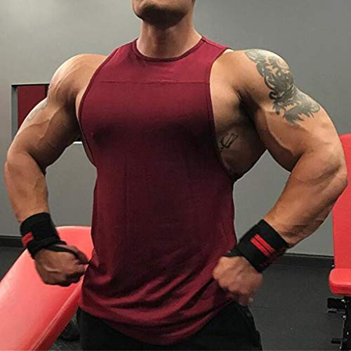 6c96857a5996a NUWFOR Men s Muscle Sleeveless Tank Top T-Shirt Bodybuilding Sport Fitness  Vest(Wine
