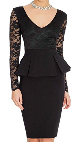 SYTX Womens Fashion Lace Stitch Long Sleeve Solid Midi Dress Black S