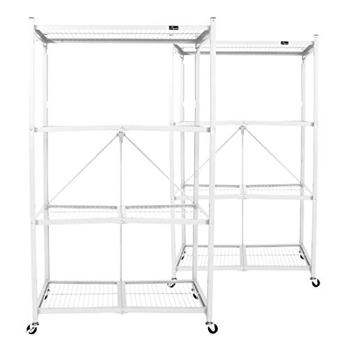 Origami Wheeled 4-Shelf Folding Steel Wire Shelving, White, 2 Pack (21