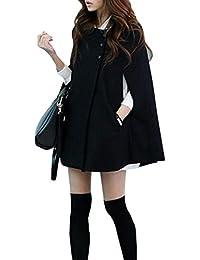 Women's Cape Batwing Wool Poncho Jacket Winter Warm Cloak Coat