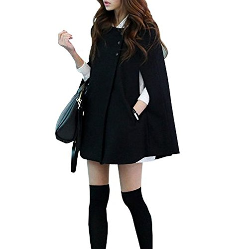 Acediscoball Women's Cape Batwing Wool Poncho Jacket Winter Warm Cloak Coat Size 4-6US Black
