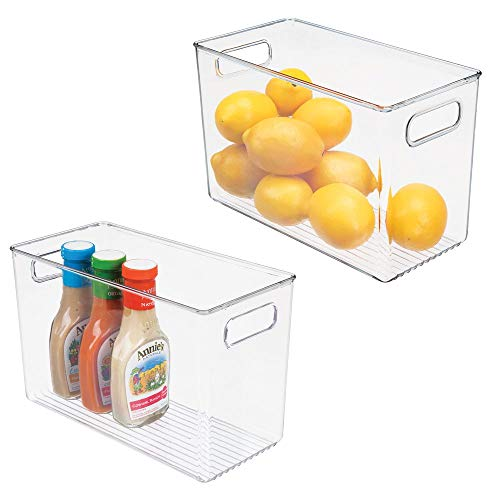 Multi Purpose Bin - mDesign Plastic Food Storage Container Bin with Handles - for Kitchen, Pantry, Cabinet, Fridge/Freezer - Narrow for Snacks, Produce, Vegetables, Pasta - BPA Free, Food Safe - 2 Pack - Clear