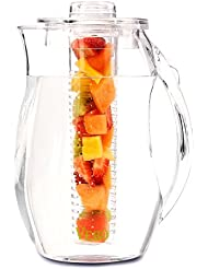 VeBo Tea and Fruit Infusion Pitcher With Ice Core Rod - 2.9 Quart Water Pitcher Infuser