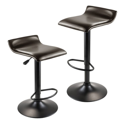 (Winsome Wood Paris Adjustable Swivel Airlift Stool with PU Leather Seat, Black Metal Base, Set of 2)
