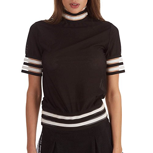Stripe Turtleneck Sleeve Top Black Small