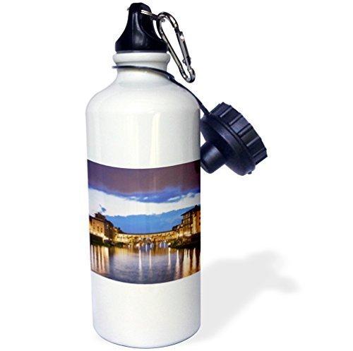 Moson Sports Water Bottle Gift, Italy Florence Arno River Ponte Vecchio Bridge White Stainless Steel Water Bottle for Women Men 21oz by Moson