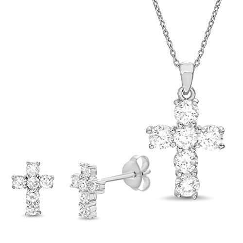 (MIA SARINE Round Cubic Zirconia Cross Stud Earring and Pendant Set for Women in Rhodium Plated 925 Sterling Silver)